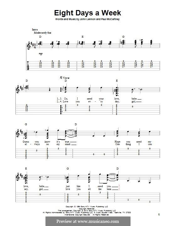 Eight Days a Week (The Beatles): Für Gitarre mit Tab by John Lennon, Paul McCartney