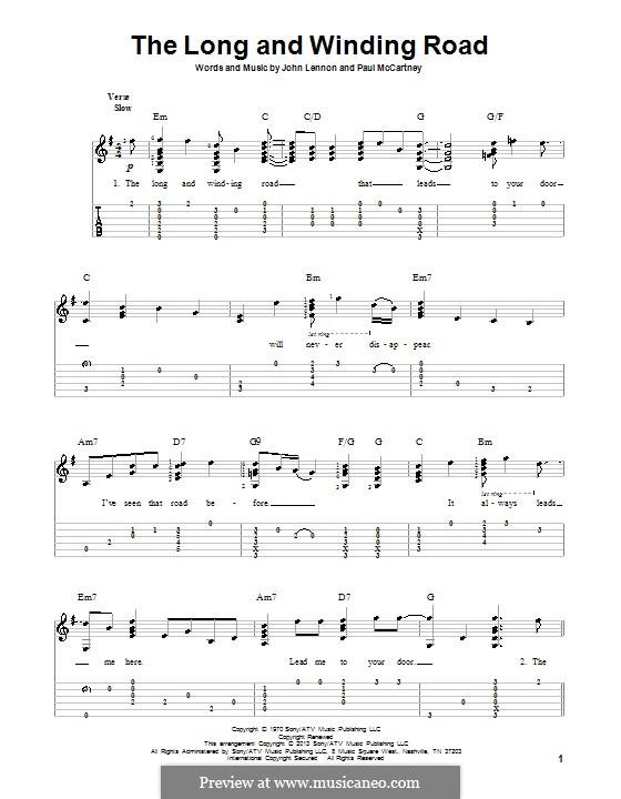 The Long and Winding Road (The Beatles): Für Gitarre mit Tab by John Lennon, Paul McCartney