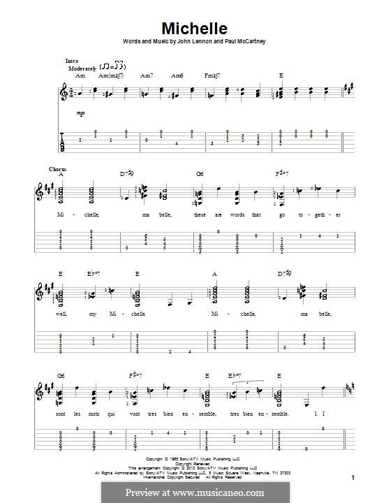 Michelle (The Beatles), for One Instrument: Für Gitarre mit Tab by John Lennon, Paul McCartney
