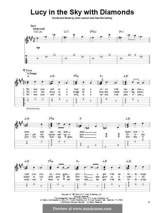 Lucy in the Sky with Diamonds (The Beatles): Für Gitarre mit Tab by John Lennon, Paul McCartney