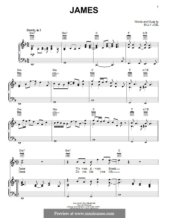 James: Für Stimme und Klavier (oder Gitarre) by Billy Joel