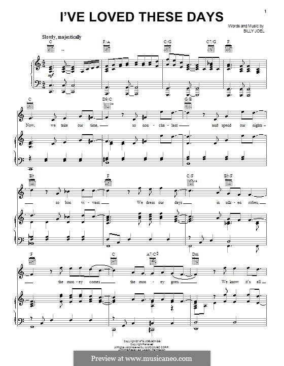 I've Loved These Days: Für Stimme und Klavier (oder Gitarre) by Billy Joel