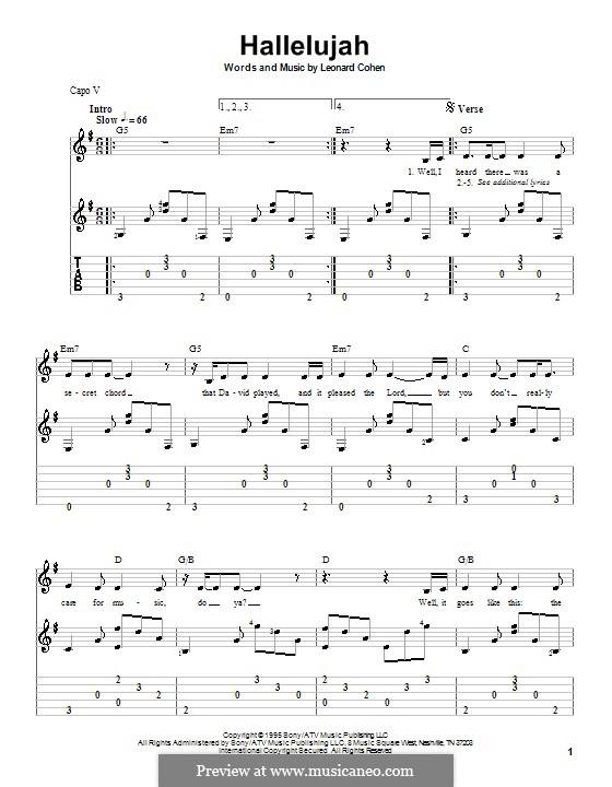 Hallelujah: Für Gitarre mit Tabulatur by Leonard Cohen