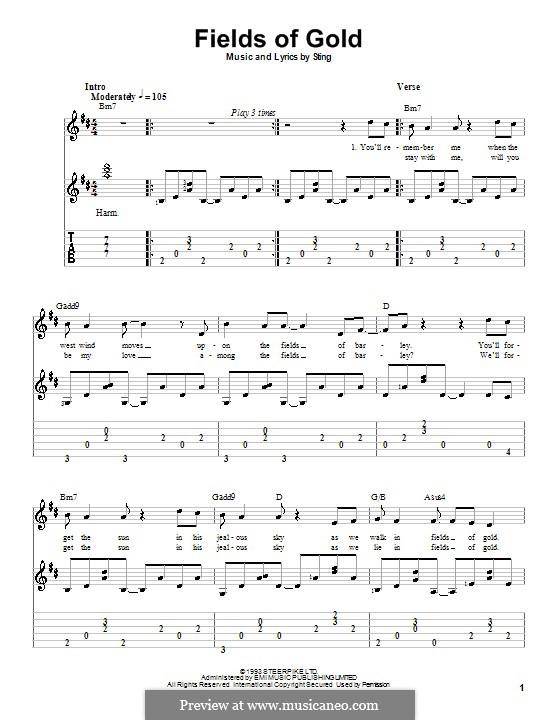 Fields of Gold: Für Gitarre mit Tab by Sting