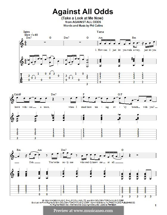 Against All Odds (Take a Look at Me Now): Für Gitarre mit Tabulatur by Phil Collins