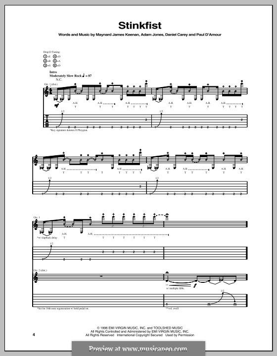Stinkfist (Tool): Für Gitarre mit Tabulatur by Adam Jones, Daniel Carey, Justin Chancellor, Maynard James Keenan