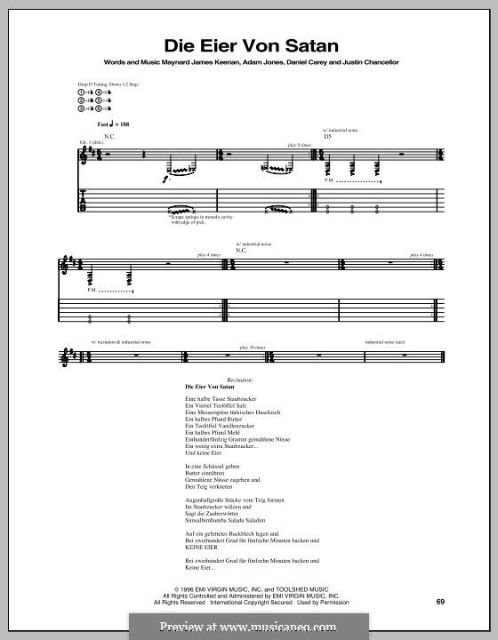 Die Eier Von Satan (Tool): Für Gitarre mit Tabulatur by Adam Jones, Daniel Carey, Justin Chancellor, Maynard James Keenan