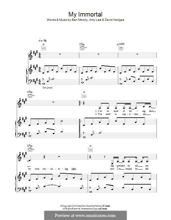 My Immortal (Evanescence): Für Stimme und Klavier (oder Gitarre) by Amy Lee, Ben Moody, David Hodges
