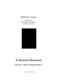 A Musical Memorial: Chorale 'I Have Summoned You' by Michael Cronin