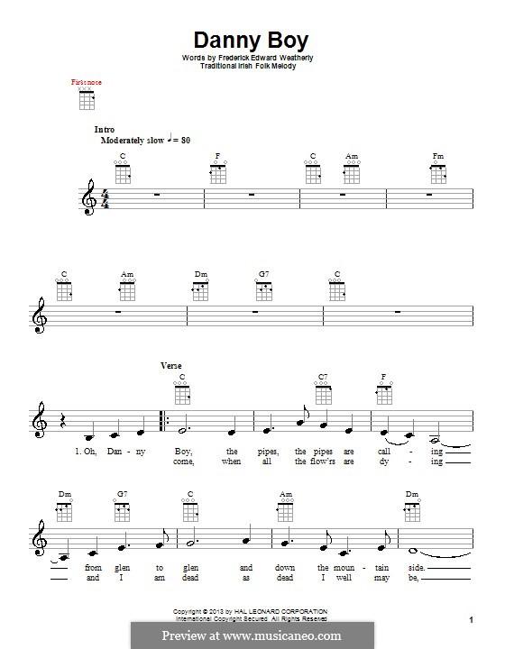 Danny Boy (Printable Scores): Für Ukulele by folklore