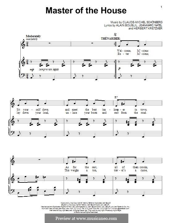 Master of the House: Für Stimme und Klavier by Claude-Michel Schönberg