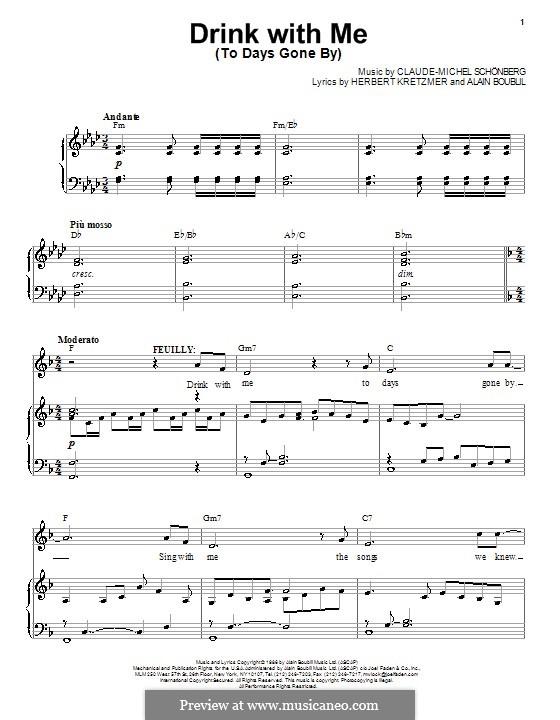Drink With Me (To Days Gone By): Für Stimme und Klavier by Claude-Michel Schönberg