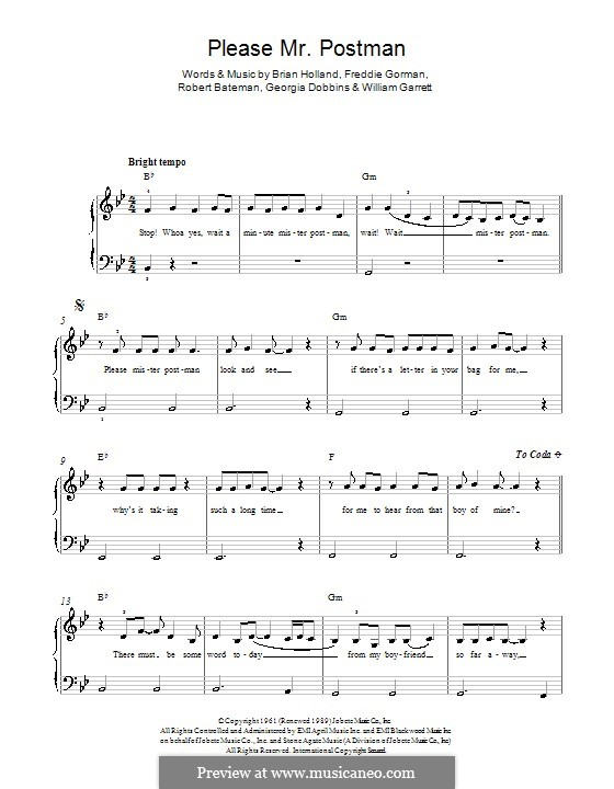 Please Mr. Postman: Für Klavier by Brian Holland, Freddie Gorman, Georgia Dobbins, Robert Bateman, William Garrett