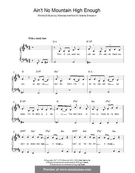 Ain't No Mountain High Enough (Marvin Gaye & Tammi Terrell): Für Klavier by Nicholas Ashford, Valerie Simpson