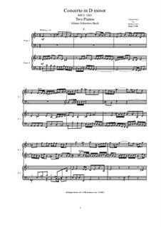 Doppelkonzert für zwei Violinen, Streicher und Basso Continuo in d-Moll, BWV 1043: Bearbeitung für zwei Klaviere by Johann Sebastian Bach
