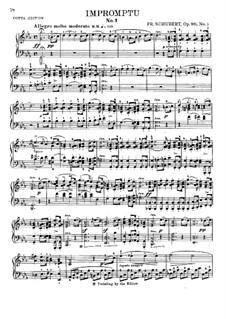 Vier Impromptus für Klavier, D.899 Op.90: Impromptu Nr.1 (mit Fingersatz) by Franz Schubert
