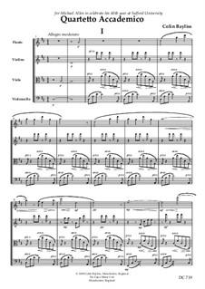 Quartetto Accademico for flute, violin, viola and violoncello, B158: Quartetto Accademico for flute, violin, viola and violoncello by Colin Bayliss