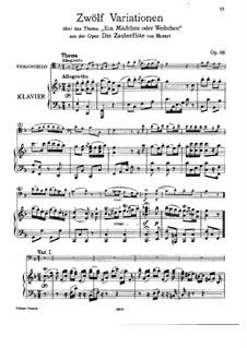 Zwölf Variationen über 'Die Zauberflöte' von Mozart, Op.66: Für Cello und Klavier – Partitur und Stimme by Ludwig van Beethoven