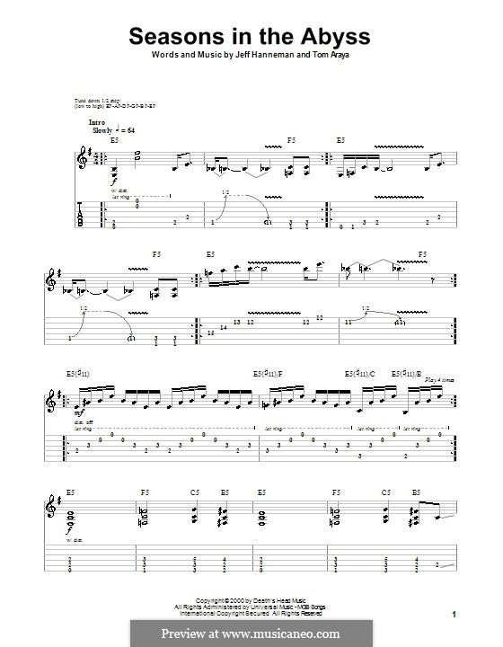 Seasons in the Abyss (Slayer): Für Gitarre mit Tab by Jeffery Hanneman, Tom Araya
