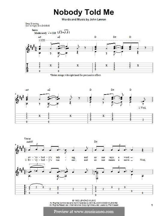 Nobody Told Me: Für Gitarre mit Tab by John Lennon