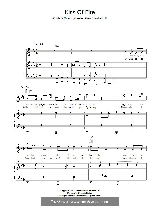 Kiss of Fire: Für Stimme und Klavier (oder Gitarre) by Lester Allen, Robert Hill