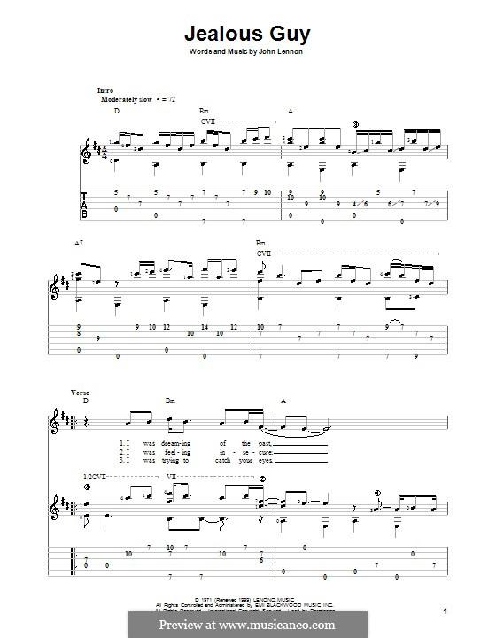 Jealous Guy: Für Gitarre mit Tab by John Lennon