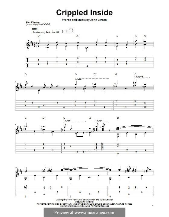 Crippled Inside: Für Gitarre mit Tab by John Lennon