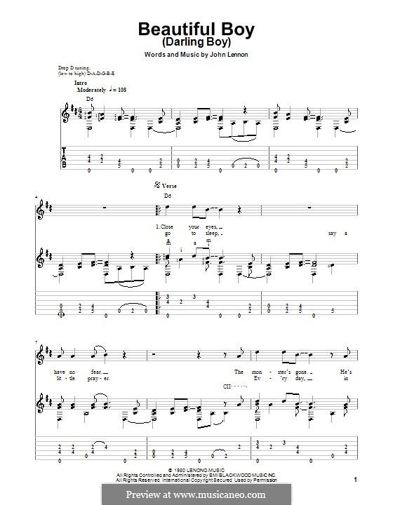 Beautiful Boy (Darling Boy): Für Gitarre mit Tab by John Lennon