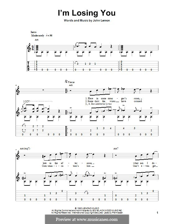 I'm Losing You: Für Gitarre mit Tab by John Lennon