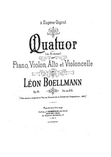 Klavierquartett in f-moll, Op.10: Vollpartitur by Léon Boëllmann