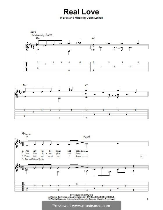 Real Love (The Beatles): Für Gitarre mit Tab by John Lennon