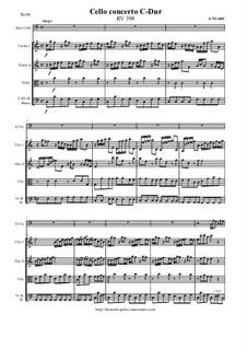Konzert für Cello und Streicher in C-Dur, RV 398: Partitur und Stimmen by Antonio Vivaldi