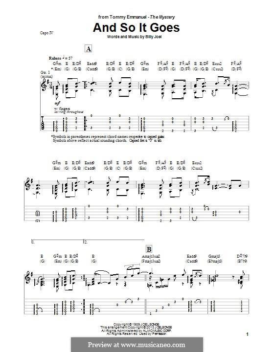 And So It Goes: Für Gitarre mit Tab by Billy Joel