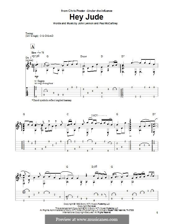 Hey Jude (The Beatles), for One Instrument: Für Gitarre mit Tab by John Lennon, Paul McCartney