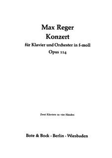 Konzert für Klavier und Orchester in f-Moll, Op.114: Teil I, für zwei Klaviere, vierhändig by Max Reger