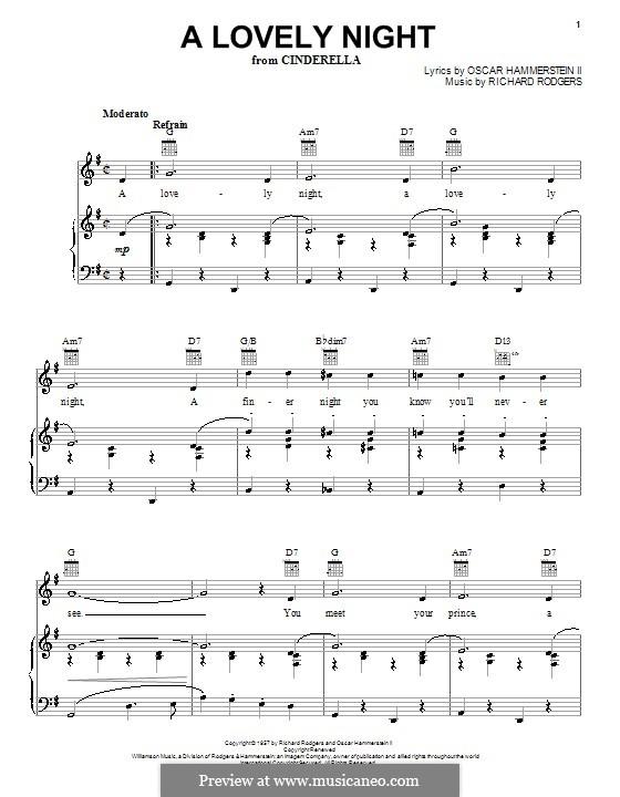 A Lovely Night (from Cinderella): Für Stimme und Klavier (oder Gitarre) by Richard Rodgers