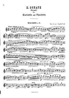 Zwei Sonaten für Klarinette (oder Bratsche) und Klavier, Op.49: Sonate Nr.2 in fis-Moll – Solo Stimme by Max Reger