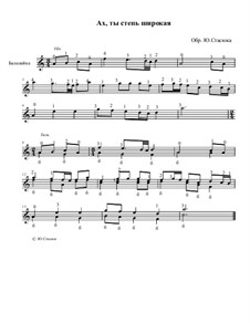 Ах ты степь широкая: Обработка для балалайки соло, Op.20 by folklore