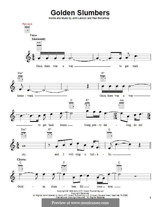 Golden Slumbers (The Beatles): Für Ukulele by John Lennon, Paul McCartney