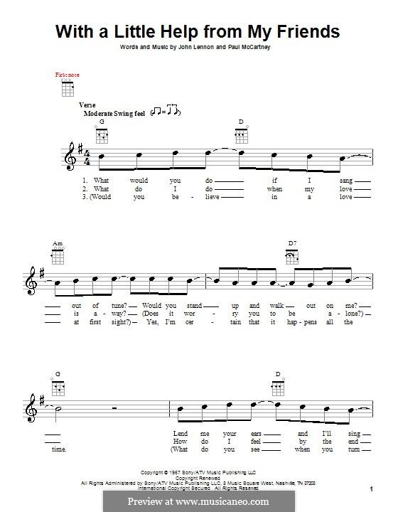 With a Little Help from My Friends (The Beatles): Für Ukulele by John Lennon, Paul McCartney