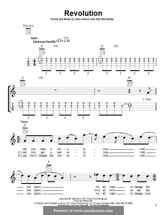 Revolution (The Beatles): Für Ukulele by John Lennon, Paul McCartney