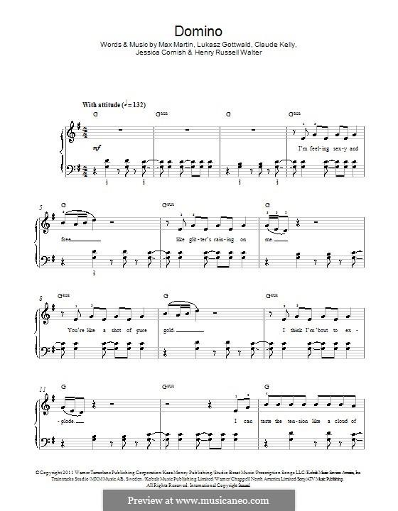 Domino (Jessie J): Für Klavier by Claude Kelly, Jessica Cornish, Lukas Gottwald, Max Martin, Henry Russell Walter