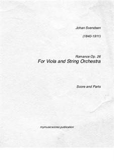 Romanze, Op.26: For viola and string orchestra by Johan Svendsen