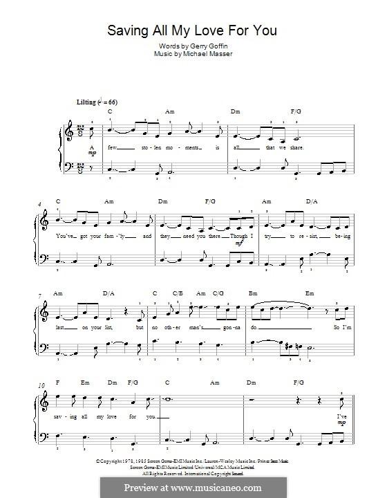 Saving All My Love for You (Whitney Houston): Für Klavier by Gerry Goffin, Michael Masser