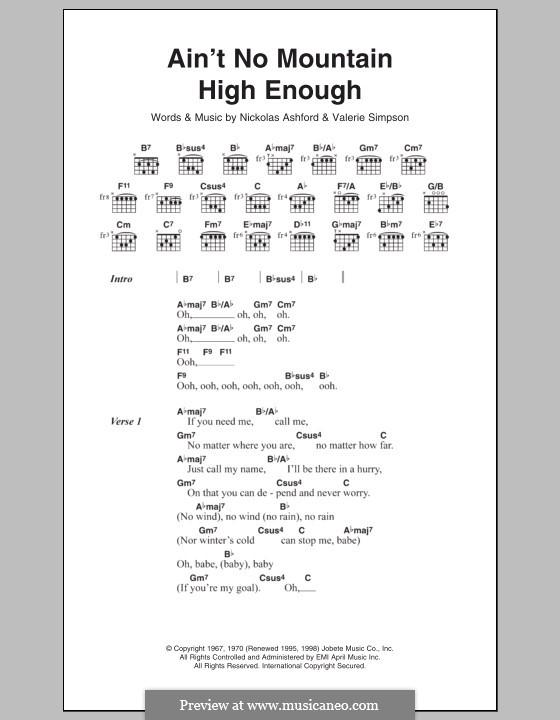Ain't No Mountain High Enough (Marvin Gaye & Tammi Terrell): Text und Akkorde by Nicholas Ashford, Valerie Simpson
