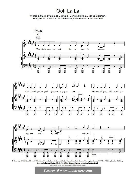 Ooh La La (Britney Spears): Für Stimme und Klavier (oder Gitarre) by Bonnie McKee, Jacob Kasher Hindlin, Joshua Coleman, Lukas Gottwald, Henry Russell Walter, Fransisca Hall, Lola Blanc