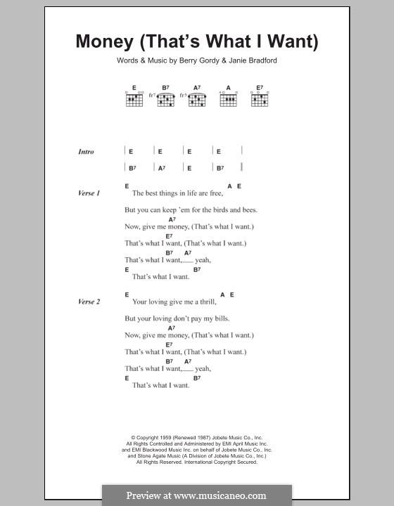 Money (That's What I Want): Texte und Akkorde by Berry Gordy, Janie Bradford