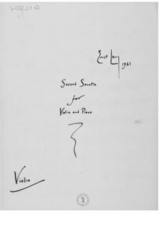 Sonate Nr.2 für Violine und Klavier: Violinstimme by Ernst Levy