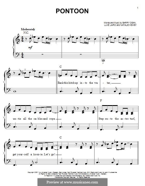 Pontoon (Little Big Town): Für Klavier by Barry Dean, Luke Laird, Natalie Hemby