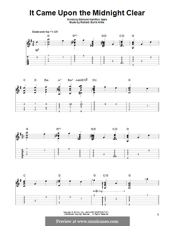 It Came upon the Midnight Clear: Für Gitarre mit Tab by Richard Storrs Willis